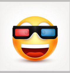 smiley with 3d glassessmiling emoticon yellow vector image