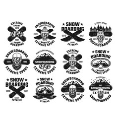Snowboarding winter extreme sport emblems vector