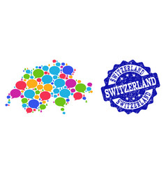 Social network map of switzerland with speech vector