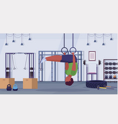 sporty man doing ring dips exercises with vector image