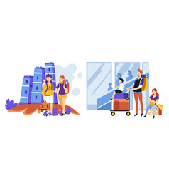 tourism and traveling vacation and holidays couple vector image