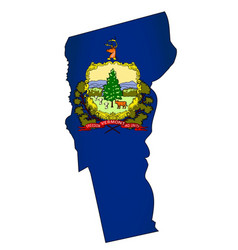 Vermont outline map and flag vector