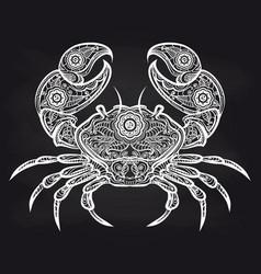 vintage ornate crab on blackboard vector image