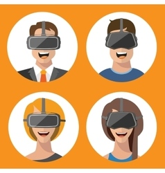 Virtual reality glasses man and woman flat icons vector