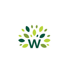 W letter tree leaf nature mark green logo icon vector