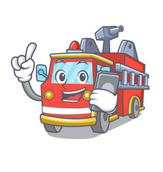 With phone fire truck character cartoon vector
