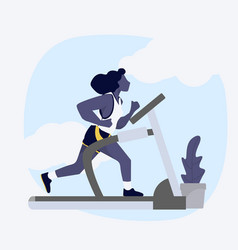 woman attractive running on treadmill vector image