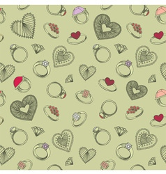 Diamond rings heart patterns vector image vector image