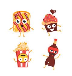 Fast food characters - set of mascot vector