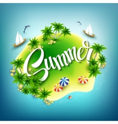 Headline Summer Tropical island in the blue sea vector image vector image