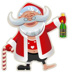 merry christmas fun drunk santa claus holding vector image