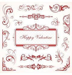 Abstract floral Valentine decorative ornaments vector image