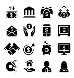 business financial icon set vector image vector image