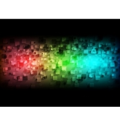 Colorful tech squares on black background vector image vector image