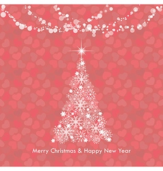 Red Merry Christmas greeting light tree vector image
