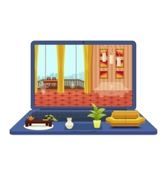 Room Interior Project On Laptop Design vector image