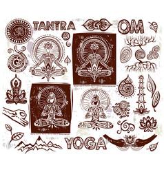 set yoga elements vector image vector image