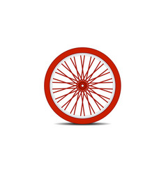 bicycle wheel in red design with shadow vector image vector image