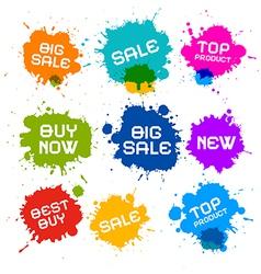 Colorful grunge sale splash blots icons vector