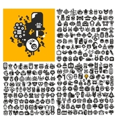Great set of robot faces vector image vector image