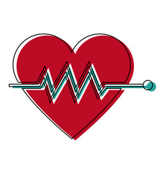 heartbeat cardiac monitoring pulse flat icon for vector image