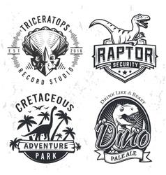 Set of dino logos raptor t-shirt vector