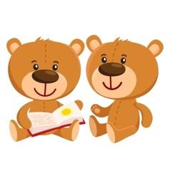 Two retro style teddy bear characters sitting and vector