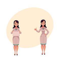 Two woman doctors in medical coats blank board vector