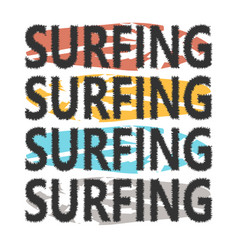 colorful surfboards with lettering surfing vector image