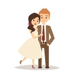 Happy bride and groom on wedding romance love vector image