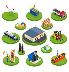 logistics isometric icons set of different vector image vector image