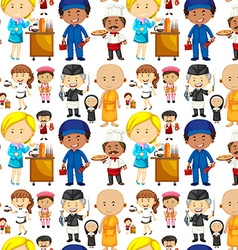 Seamless background with people and jobs vector