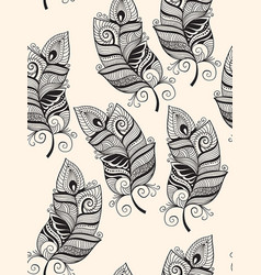 seamless pattern with doodle feathers vector image vector image