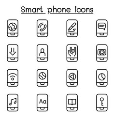 smart phone icon set in thin line style vector image vector image