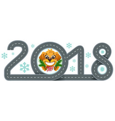 2018 year of yellow dog in chinese calendar road vector image