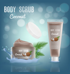3d realistic coffee body scrub cosmetic package vector image