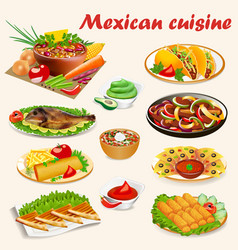A set of mexican cuisine dishes with soup dorado vector