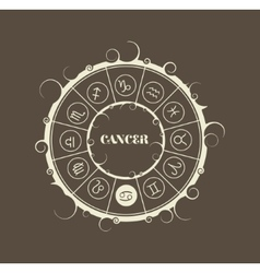 Astrology symbols in circle Cancer sign vector image