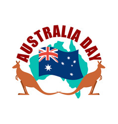 Australia day emblem kangaroo australian flag and vector