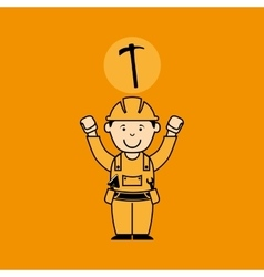 Avatar man construction worker with gear cog icon vector