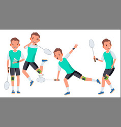 badminton man player male athlete in vector image