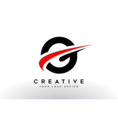 Black and red creative g letter logo design with vector