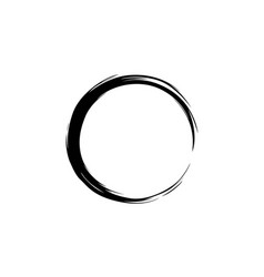 Black watercolor hand drawing zen circle vector