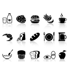breakfast icons set vector image