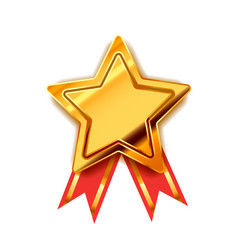 Bright golden award in star shape with red tape vector