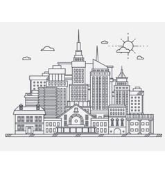 business center big city street skyscrapers vector image