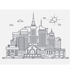 Business center of big city street skyscrapers vector
