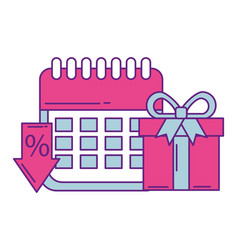calendar reminder with gift box and arrow down vector image