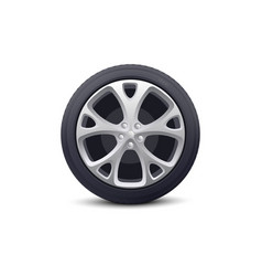 car wheel with disk and rubber tire realistic vector image