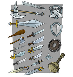 cartoon big cold weapon icon set vector image